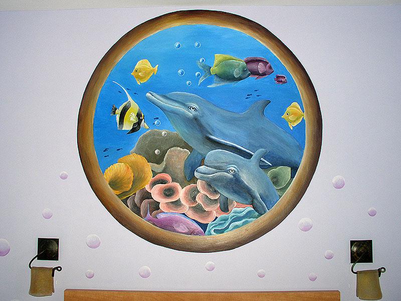 Подводный мир в спальне дельфины
